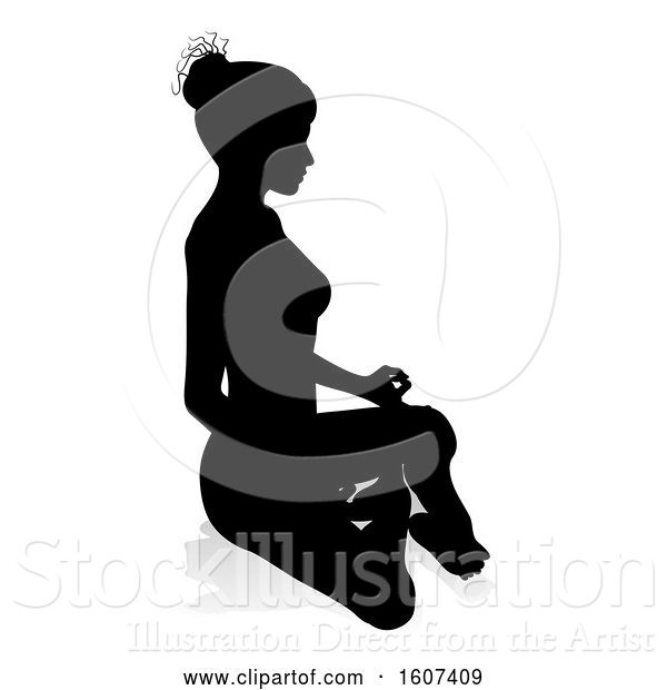 Vector Illustration of Silhouetted Lady Sitting in a Lotus Position, with a Shadow or Reflection, on a White Background