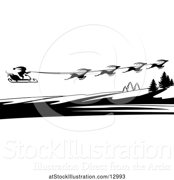 Vector Illustration of Silhouetted Magic Sleigh of Reindeer and Santa