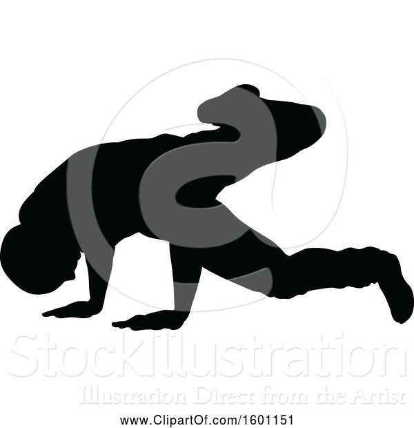 Vector Illustration of Silhouetted Male Dancer