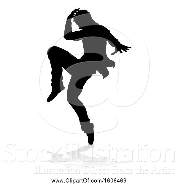 Vector Illustration of Silhouetted Male Dancer, with a Reflection or Shadow, on a White Background