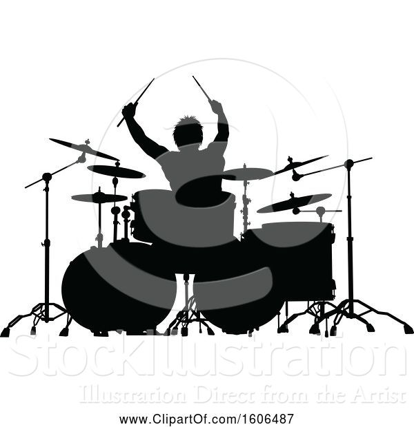 Vector Illustration of Silhouetted Male Drummer