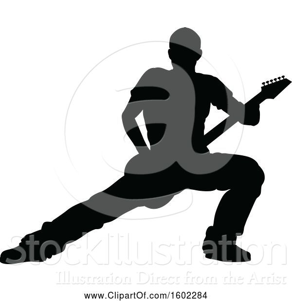 Vector Illustration of Silhouetted Male Guitarist
