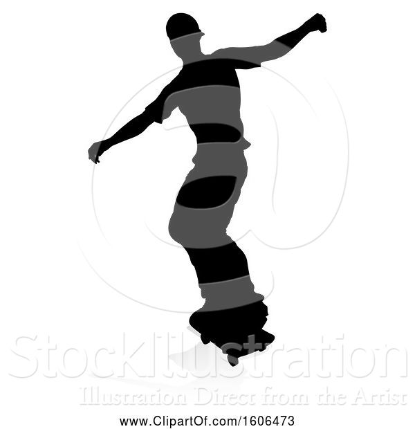 Vector Illustration of Silhouetted Male Skateboarder with a Reflection or Shadow, on a White Background