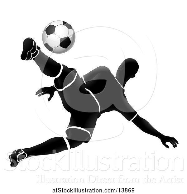 Vector Illustration of Silhouetted Male Soccer Player Jumping and Kicking