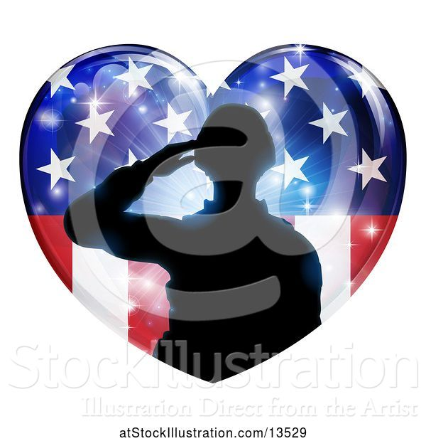 Vector Illustration of Silhouetted Military Veteran or Soldier Saluting in an American Themed Flag Heart