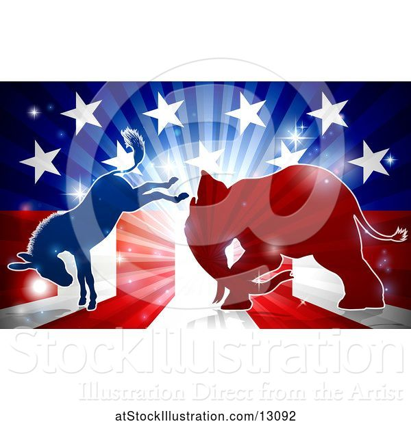 Vector Illustration of Silhouetted Political Democratic Donkey and Republican Elephant Fighting over an American Design and Burst