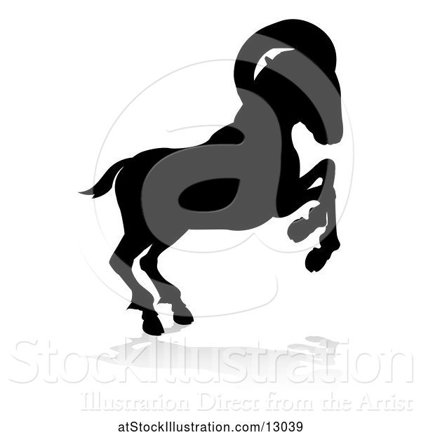 Vector Illustration of Silhouetted Ram, with a Reflection or Shadow, on a White Background