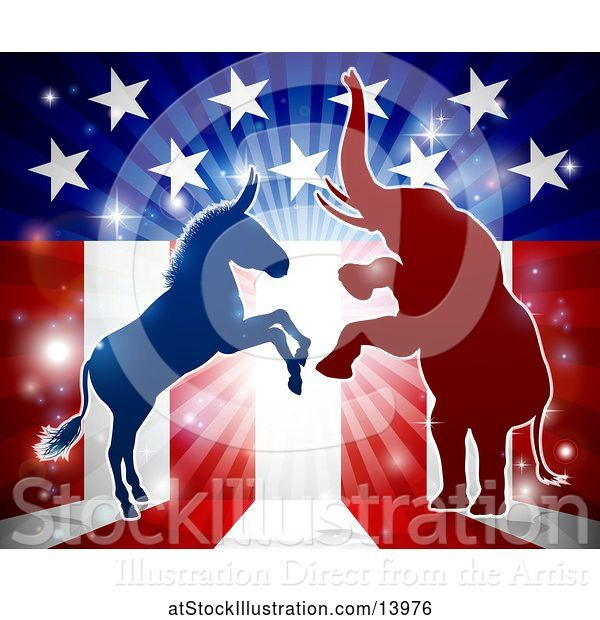Vector Illustration of Silhouetted Rearing Political Democratic Donkey and Republican Elephant over an American Design and Burst