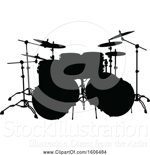 Vector Illustration of Silhouetted Set of Drums