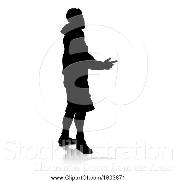Vector Illustration of Silhouetted Teenager with a Reflection or Shadow, on a White Background