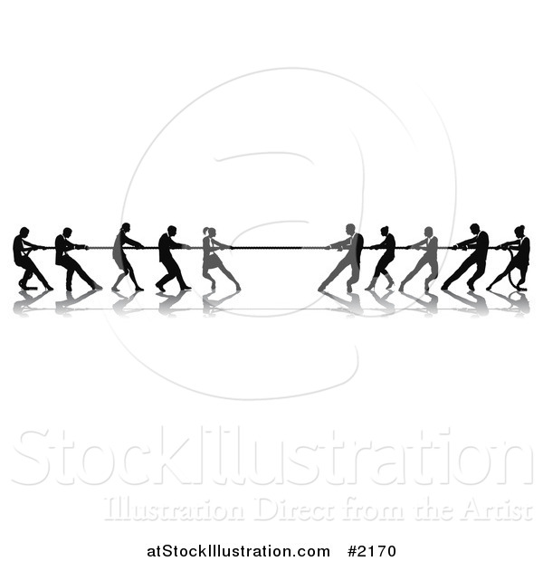 Vector Illustration of Silhouetted Tug of War Business Teams