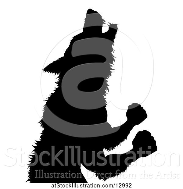 Vector Illustration of Silhouetted Werewolf Beast Howling and Transforming