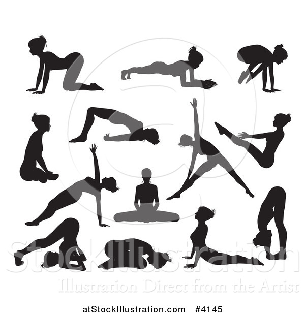 Vector Illustration of Silhouetted Women in Different Yoga Poses