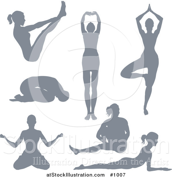 Vector Illustration of Silhouetted Yoga Women