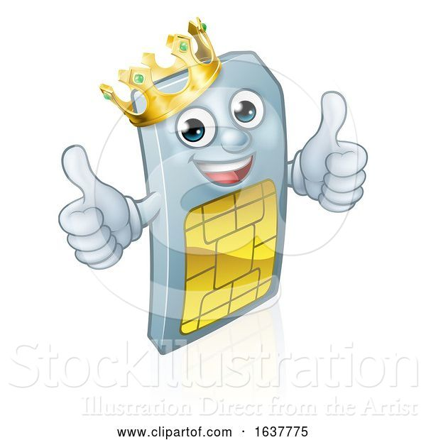 Vector Illustration of Sim Card Mobile Phone Thumbs up King Mascot