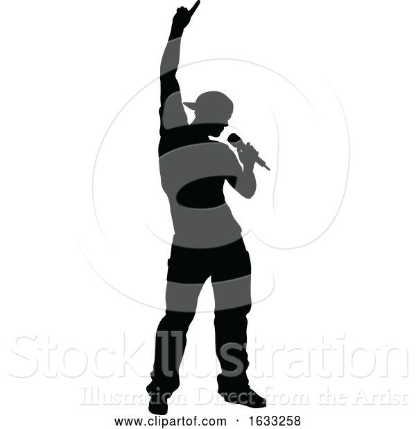 Vector Illustration of Singer Pop Country or Rock Star Silhouette