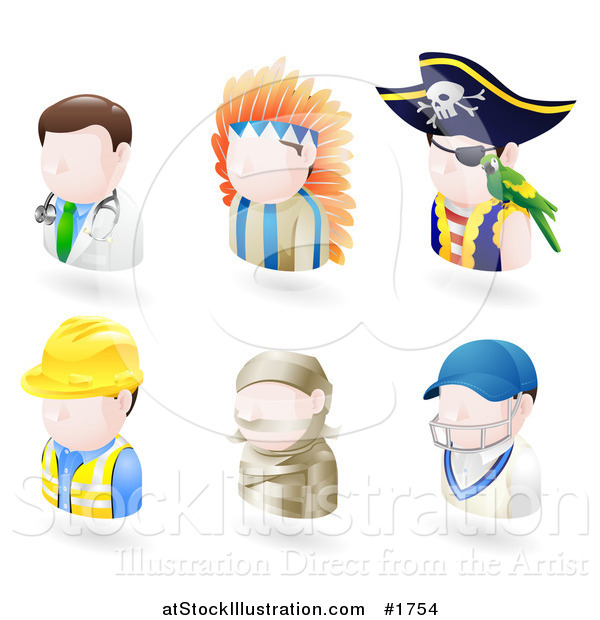 Vector Illustration of Six Avatar People; Doctor, Native American, Pirate, Contractor, Mummy and a Cricket Player