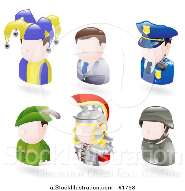 Vector Illustration of Six Avatar People; Jester, Businessman, Police Officer, Robin Hood, Roman Soldier, and a Modern Soldier