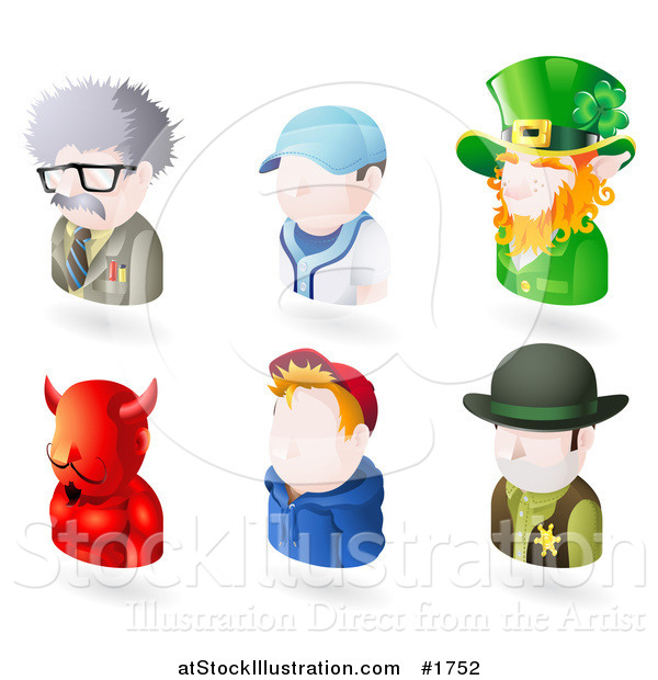 Vector Illustration of Six Avatar People; Scientist, Baseball Player, Leprechaun, Devil, Teenage Boy, and a Sheriff