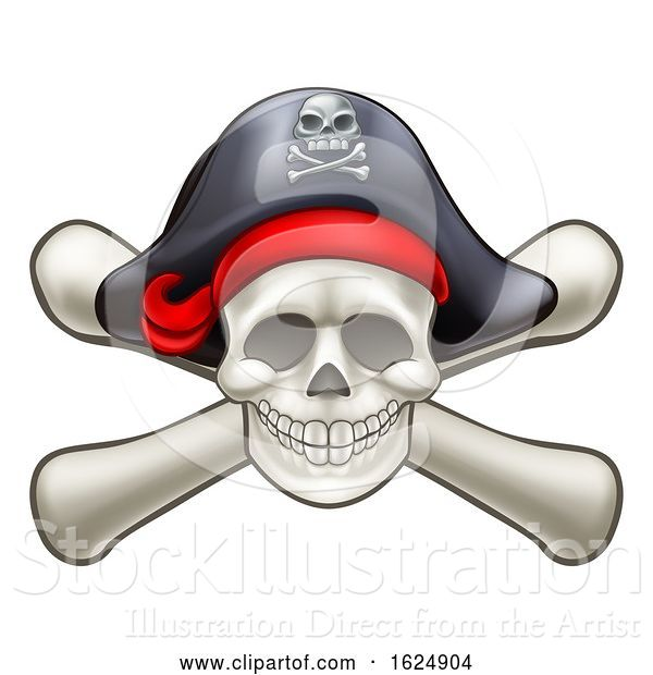 Vector Illustration of Skull and Cross Bones Pirate