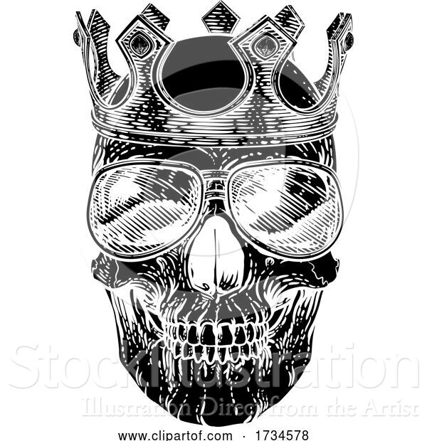 Vector Illustration of Skull Cool Sunglasses Skeleton in Shades and Crown