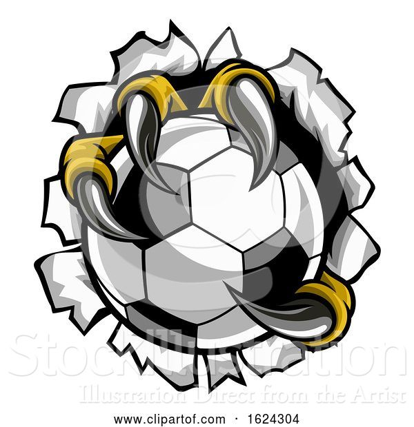 Vector Illustration of Soccer Ball Eagle Claw Talons Tearing Background