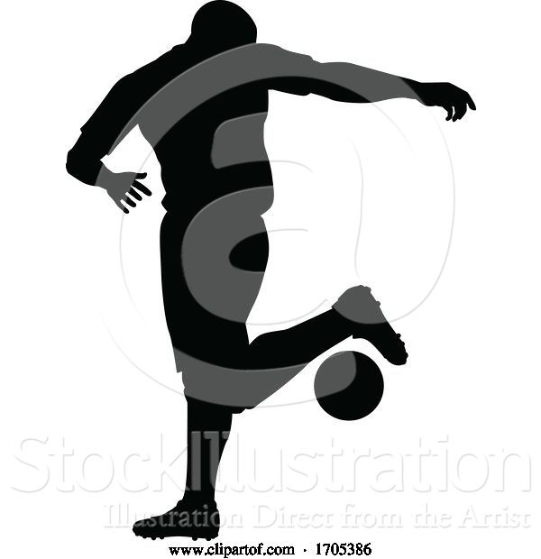 Vector Illustration of Soccer Football Player Silhouette