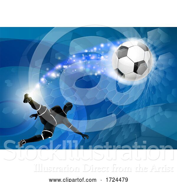 Vector Illustration of Soccer Silhouette Guy Abstract Football Background
