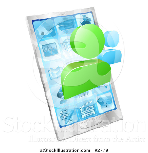 Vector Illustration of Social Networking Avatars over a 3d Cell Phone