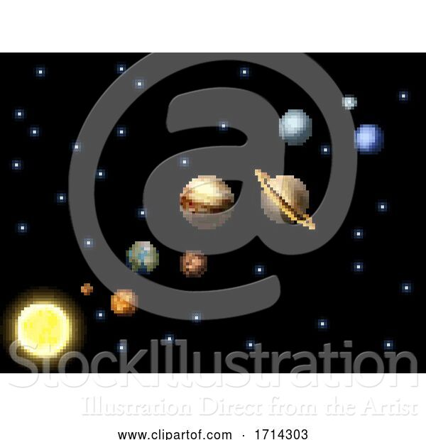 Vector Illustration of Solar System 8 Bit Arcade Video Game Pixel Art