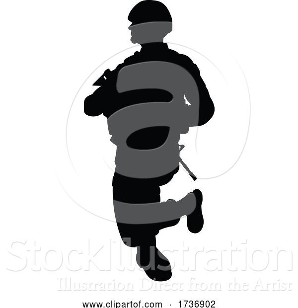 Vector Illustration of Soldier Detailed High Quality Silhouette