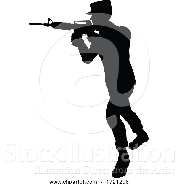 Vector Illustration of Soldier High Quality Silhouette