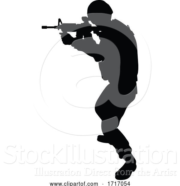 Vector Illustration of Soldier Silhouette