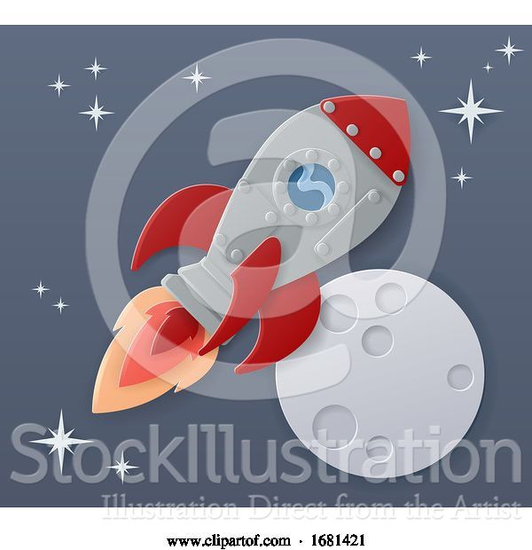 Vector Illustration of Space Rocket Ship Paper Craft Moon Scene