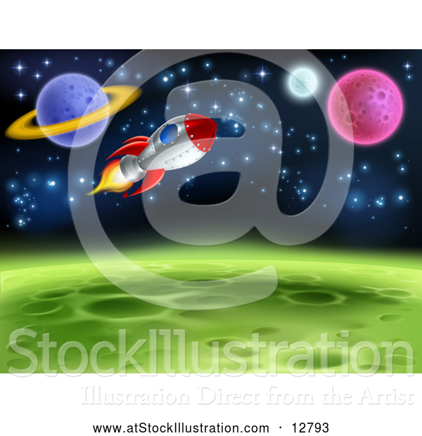 Vector Illustration of Space Rocket Travel near Planets and Stars
