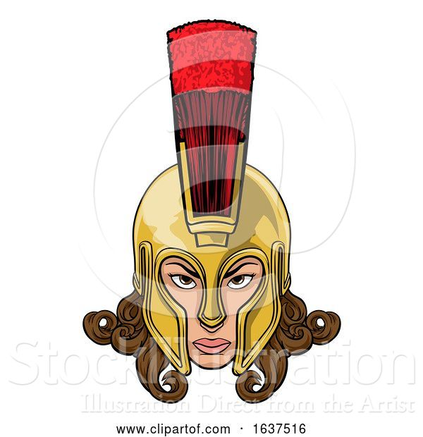 Vector Illustration of Spartan Trojan Athena Britannia Lady Warrior