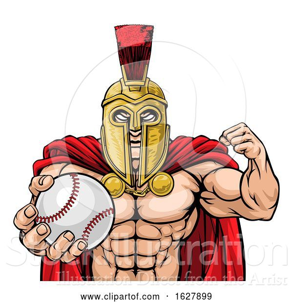 Vector Illustration of Spartan Trojan Baseball Sports Mascot