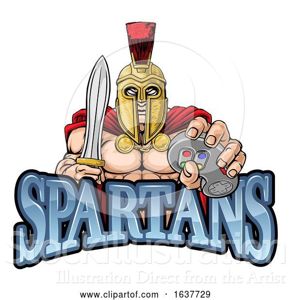 Vector Illustration of Spartan Trojan Gamer Warrior Controller Mascot