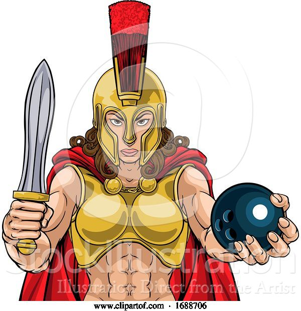 Vector Illustration of Spartan Trojan Gladiator Bowling Warrior Lady