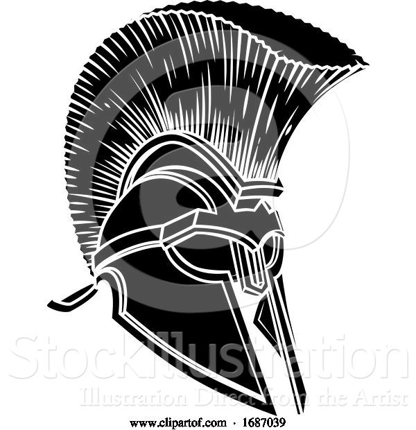 Vector Illustration of Spartan Trojan Roman Gladiator Helmet