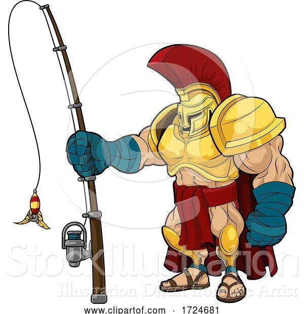 Vector Illustration of Spartan with a Fishing Pole