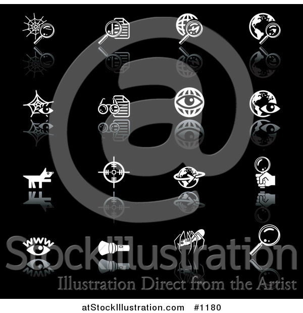 Vector Illustration of Spiderweb, Letter, Globe, Wire Globe, Letters, Eyes, Pointer Dog, View Finder, Magnifying Glasses, Flashlight, and Spider, on a Black Background