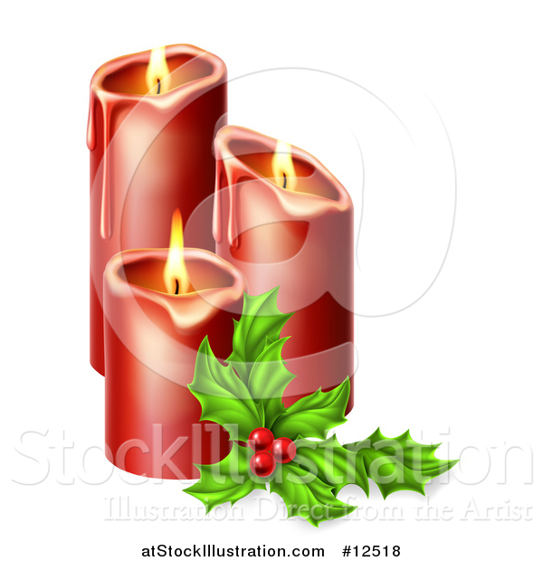 Vector Illustration of Sprig of Holly Beside Lit Christmas Candles