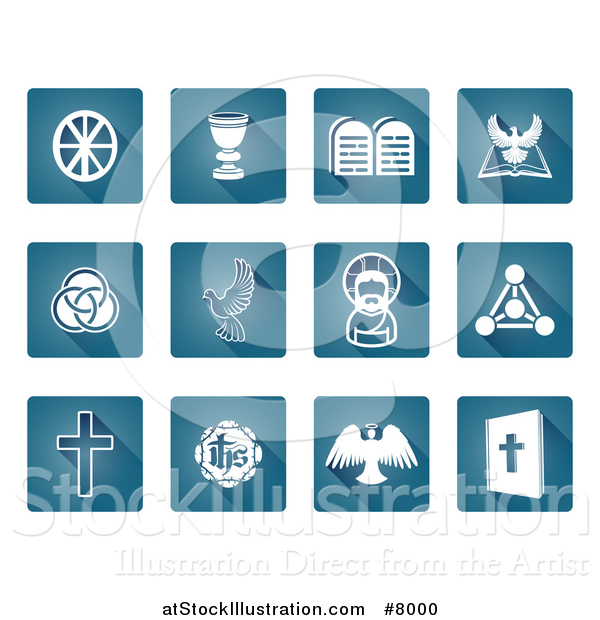 Vector Illustration of Square Blue and White Christian Icons