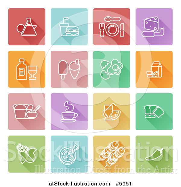 Vector Illustration of Square Colorful Flat Design Tiles with White Food Icons