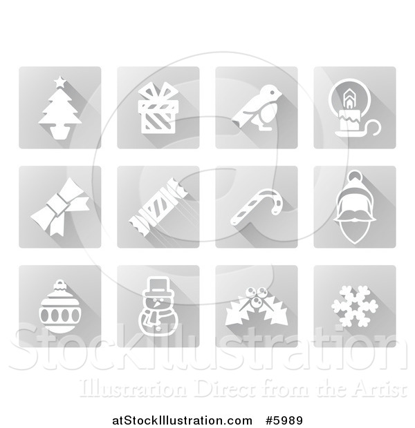 Vector Illustration of Square Grayscale Christmas Icons