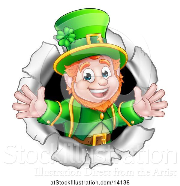 Vector Illustration of St Patricks Day Leprechaun Breaking Through a Hole in a Wall