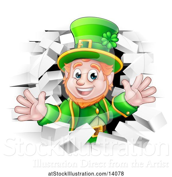 Vector Illustration of St Patricks Day Leprechaun Breaking Through White Brick Wall