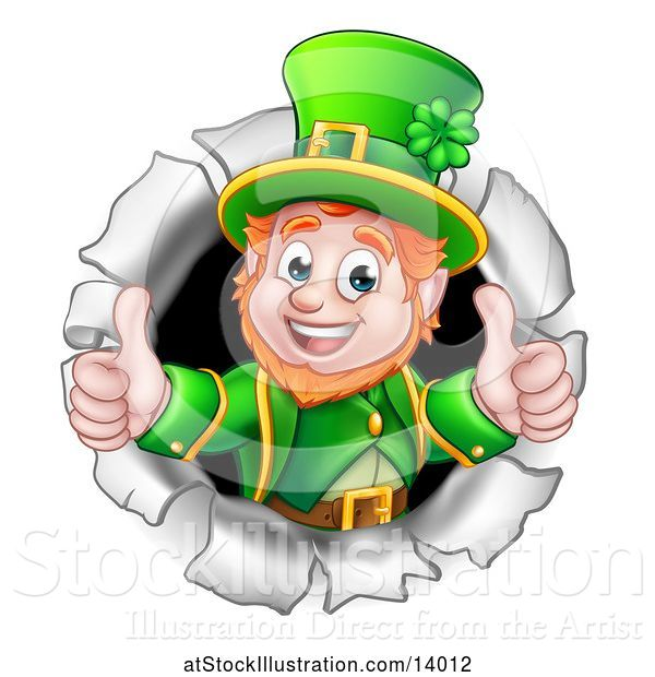Vector Illustration of St Patricks Day Leprechaun Giving Two Thumbs up and Breaking Through a Hole in a Wall