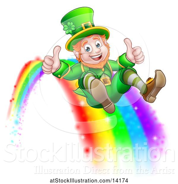 Vector Illustration of St Patricks Day Leprechaun Giving Two Thumbs up and Sliding down a Rainbow